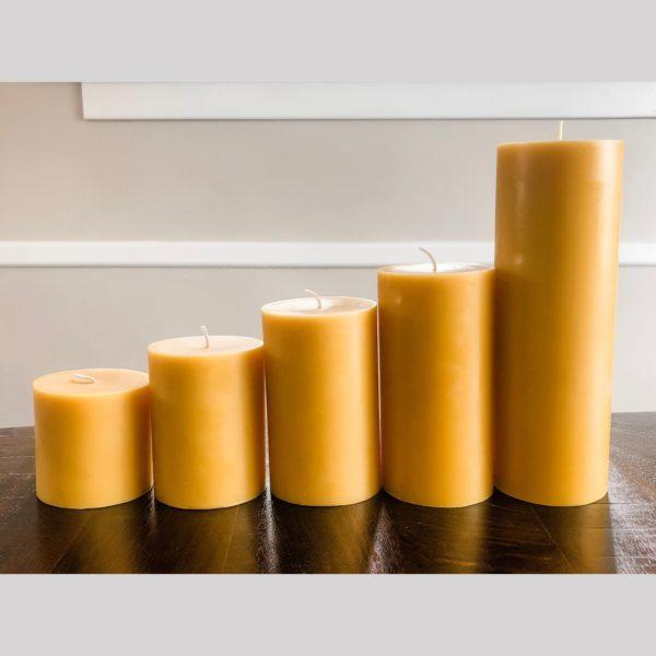 100% Pure Beeswax Pillar Candles
