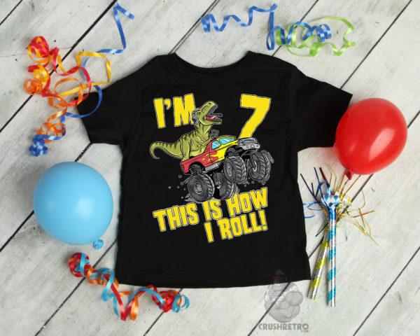 T-Rex Dinosaur 7 Year Old Birthday Boy Shirt