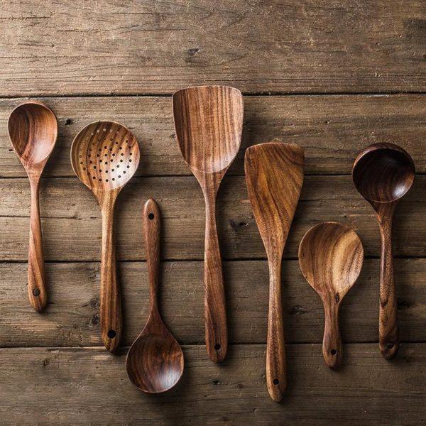 Custom 7 Pieces Wooden Kitchen Utensil Set