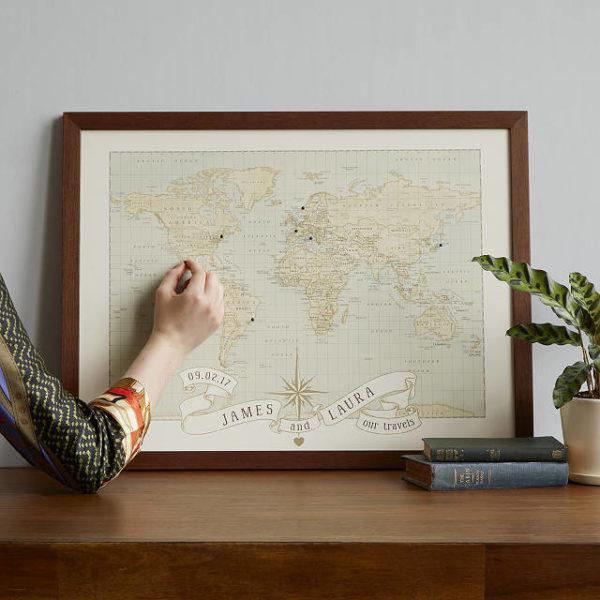 Personalized Anniversary Pushpin World Map