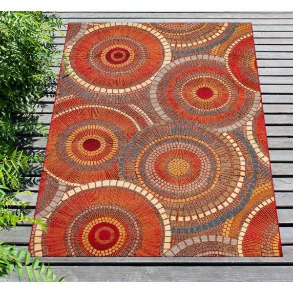 Hern Geometric Saffron Indoor/Outdoor Area Rug