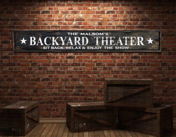 Custom Backyard Theater sign