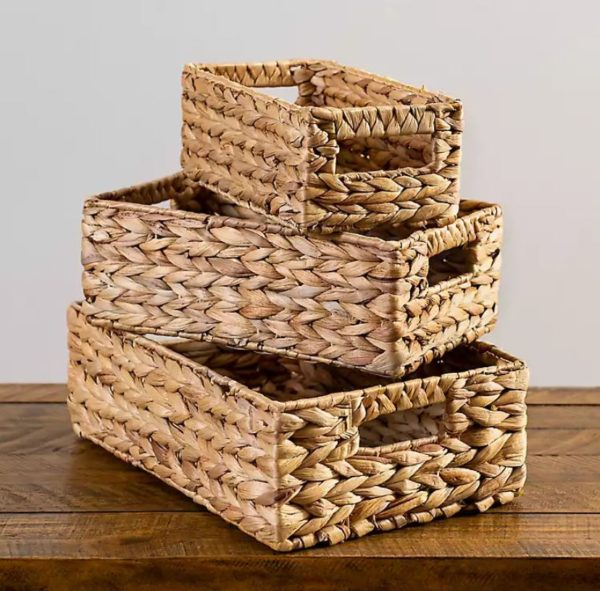 Natural Woven Baskets with Handles