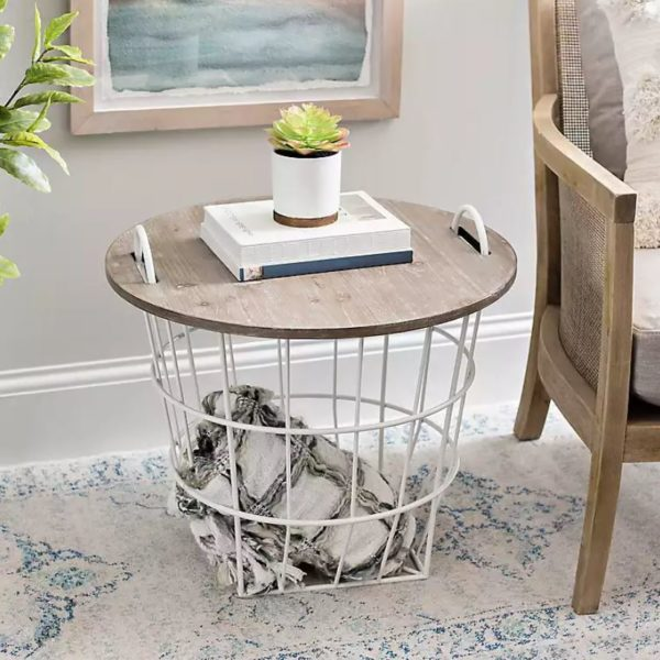 Off-White Wire and Dark Brown Wood Basket Table