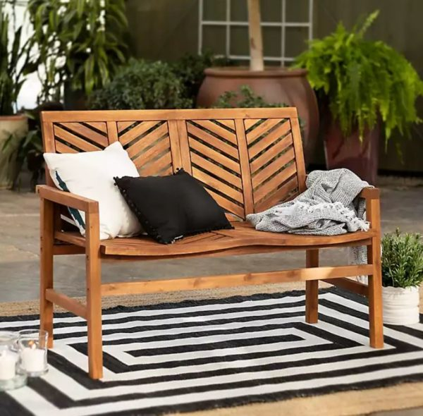 Brown Chevron Outdoor Loveseat