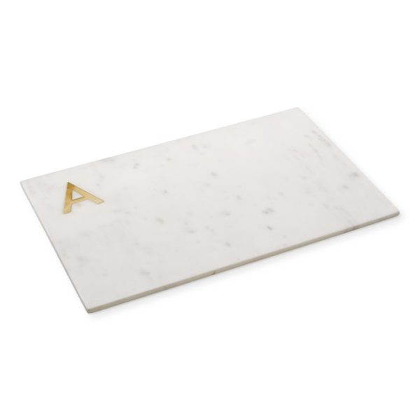 Marble & Brass Monogram Cheese Board