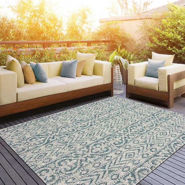 Azure Terrace Sun Shower Outdoor Area Rug