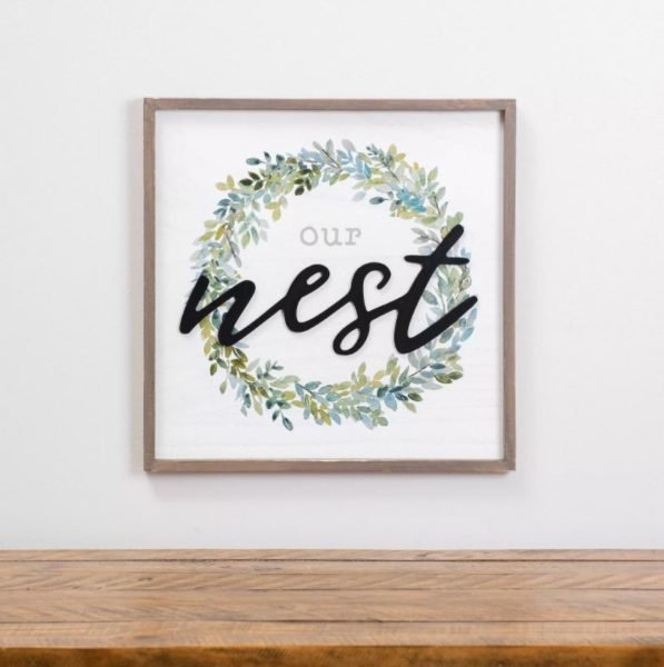 Our Nest with Wreath Framed Plaque