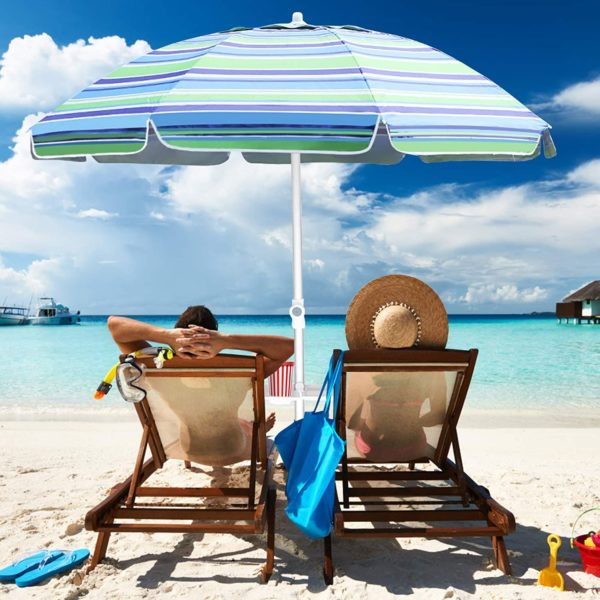 Aclumsy 7' Portable Beach Umbrella with Tilt and Silver Coating Inside