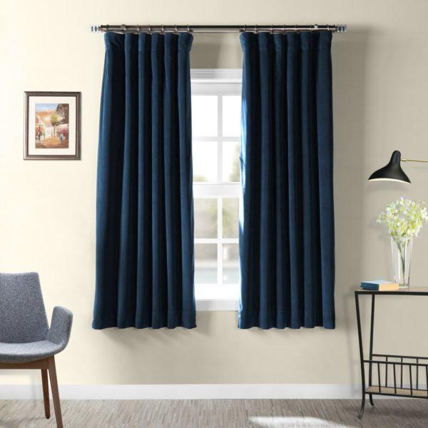 Laurel Foundry Albert Velvet Solid Blackout Thermal Rod Pocket Single Curtain Panel