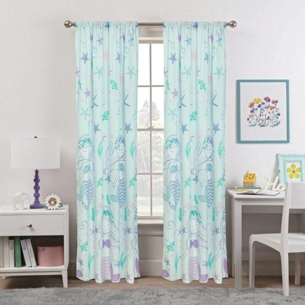 Harriet Bee Blue Aoife Mystical Mermaid Semi-Sheer Rod Pocket Curtain Panels (Set of 2)