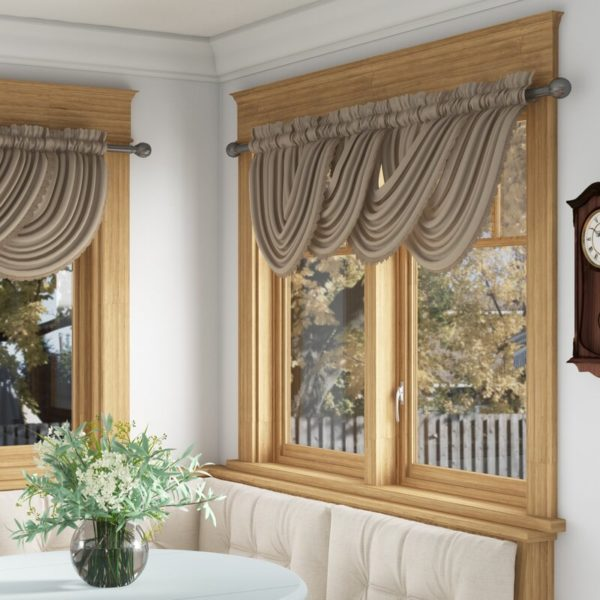 """Astoria Grand Ardmore Solid Color Scalloped 52"""" Window Valance"""