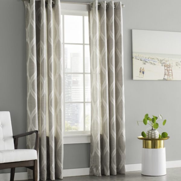 Wrought Studio Baronne Geometric Semi-Sheer Grommet Curtain Panels (Set of 2)