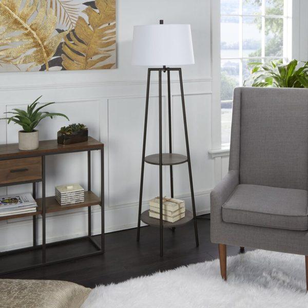 Brayden Studio Bart Floor Lamp with Shelves