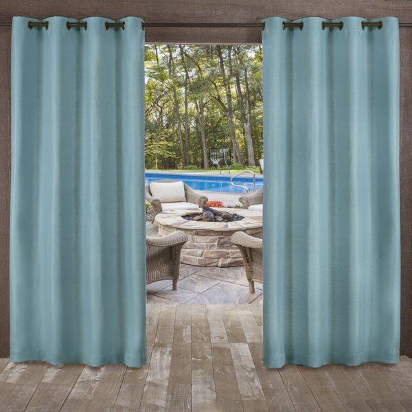 Mistana Breanna Solid Semi-Sheer Outdoor Grommet Curtain Panels (Set of 2)