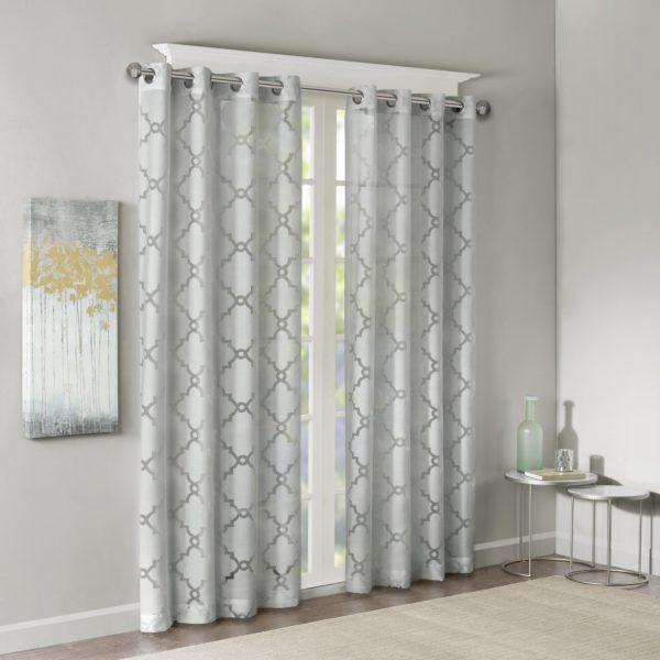 Willa Arlo Interiors Breckenridge Geometric Sheer Grommet Single Curtain Panel