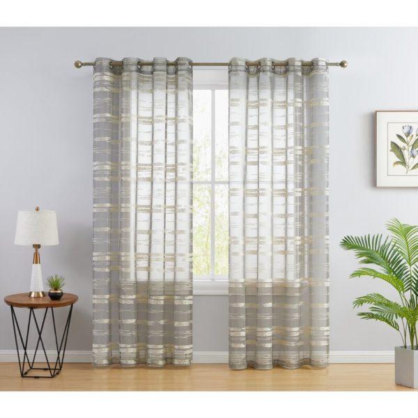 Brayden Studio Broadway Striped Sheer Grommet Curtain Panels (Set of 2)