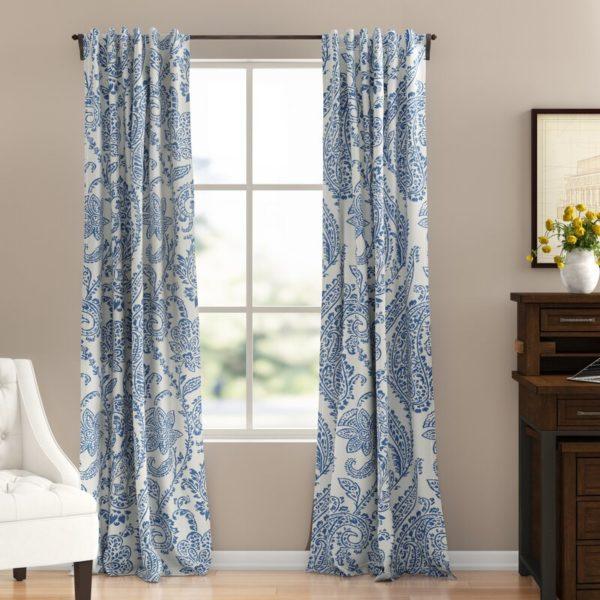 Three Posts Bryton Floral Room Darkening Rod Pocket Single Curtain Panel
