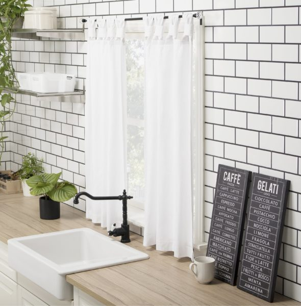 August Grove Bushong Washed Cotton Casual Solid Semi-Sheer Tab Top Kitchen Curtain (Set of 2)