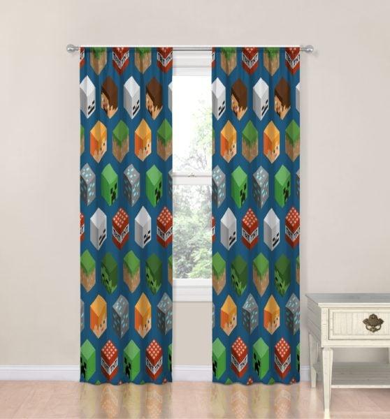 Minecraft Blue/Green/Orange Isometric Characters Room Darkening Curtain Panels (Set of 2)