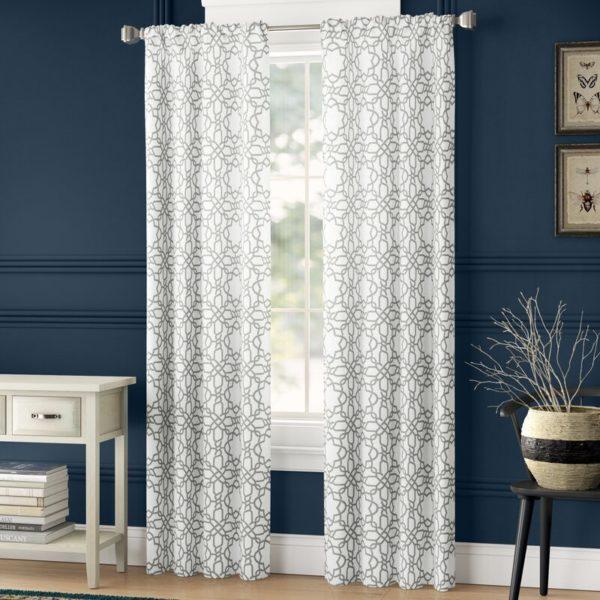 Lark Manor Maura Geometric Sheer Rod Pocket Curtains