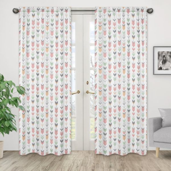 Sweet Jojo Designs Mod Arrow Geometric Semi-Sheer Rod Pocket Curtain Panels (Set of 2)