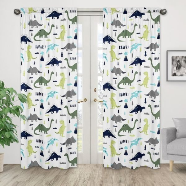 Sweet Jojo Designs Gray/Green Mod Dinosaur Wildlife Semi-Opaque Rod Pocket Curtain Panels (Set of 2)
