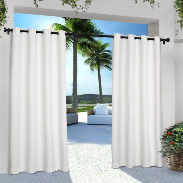 Beachcrest Home Denton Solid Room Darkening Indoor/Outdoor Grommet Curtain Panels (Set of 2)