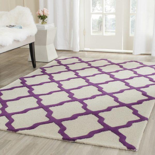 Winston Porter Ilion Hand-Tufted Wool Ivory/Purple Area Rug