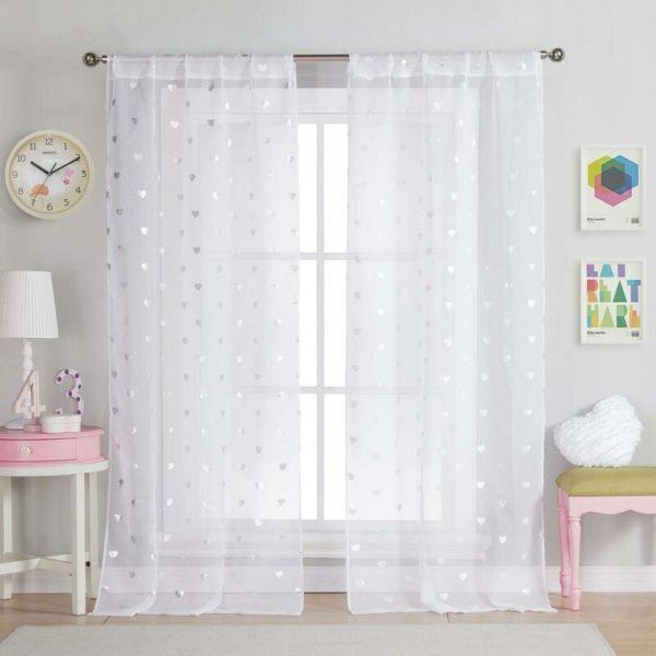 Harriet Bee White/Metallic Vera Heart Semi-Sheer Tab Top Curtain Panels (Set of 2)