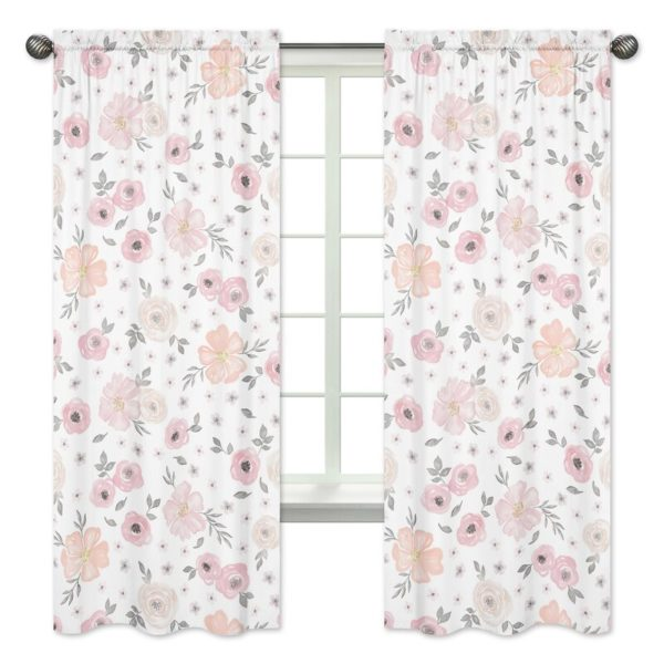 Sweet Jojo Designs Watercolor Floral Semi-Sheer Rod Pocket Curtain Panels (Set of 2)