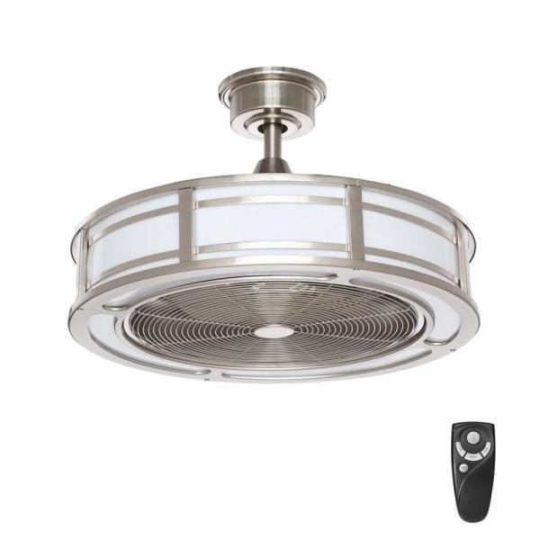 Home Decorators Collection Brette II 23 in. Indoor/Outdoor Brushed Nickel Ceiling Fan