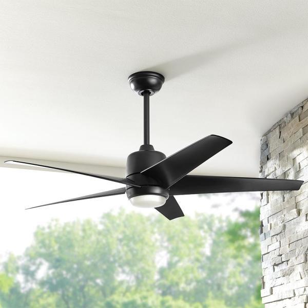 Hampton Bay Mena 54 in. Indoor/Outdoor Matte Black Ceiling Fan