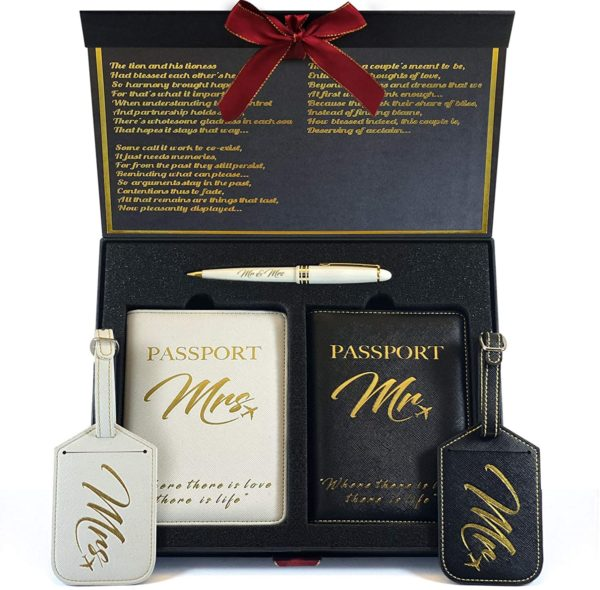 Mr. and Mrs. Luggage Tags + Passport Holder