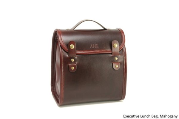 Executive Leather Lunch Bag with Waterproof Lining and Optional Insulation