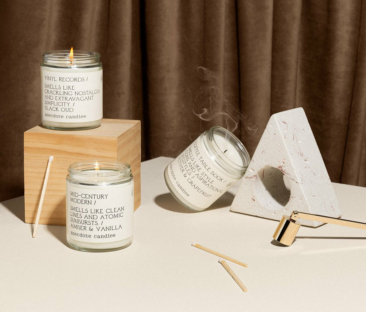 anecdote candles in glass jars
