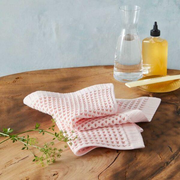 Waffle Washcloths in Flamingo