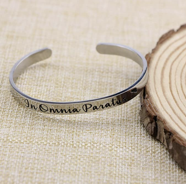 In Omnia Paratus Stainless Steel Cuff Bracelet