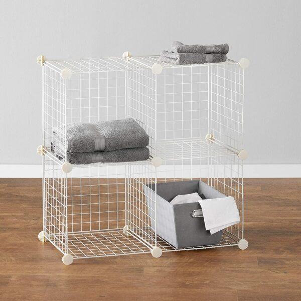 Amazon Basics 4-Cube Wire Grid Storage Shelves