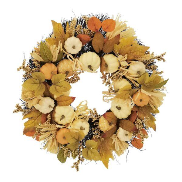 "24"" Cream Pumpkin, Wheat & Berry Wreath by Ashland"