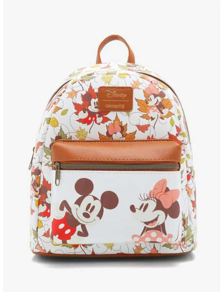Loungefly Disney Mickey Mouse & Minnie Mouse Fall Leaves Mini Backpack