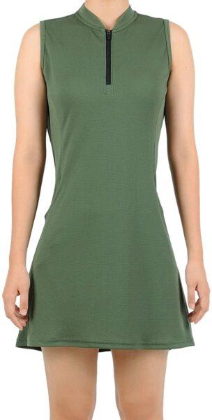 SPOEAR Women Tennis Dress Golf Sleeveless Zipper Collar Dress