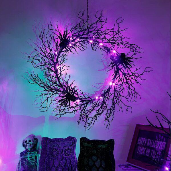 Adroiteet Halloween 24 Inch Black Spider Artificial Wreath with Purple Lights