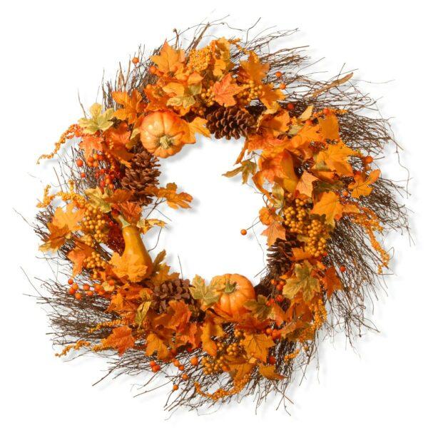 "28"" Maple Leaf and Pumpkins Wreath"