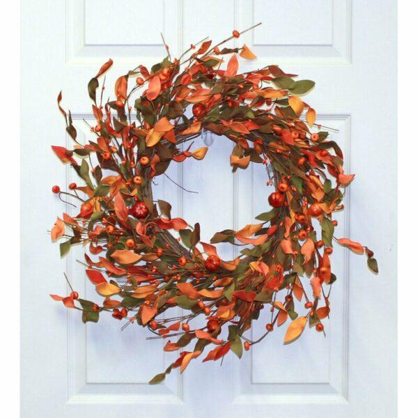 Pumpkin On Natural Twig Base Wreath