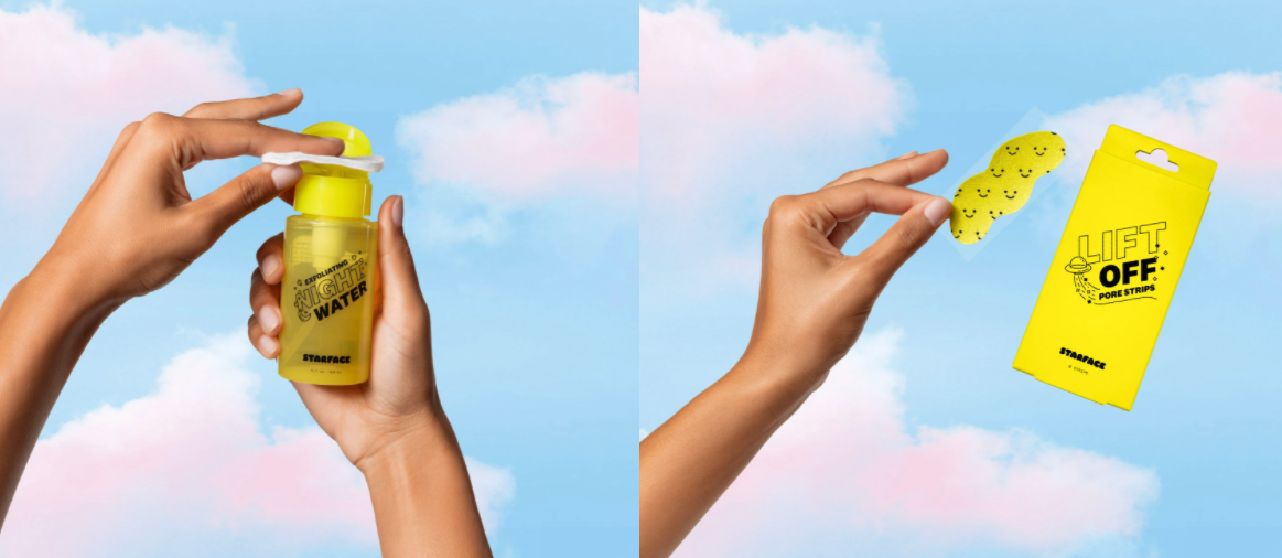 Starface face products are being held up over a blue sky background with pink fluffy clouds