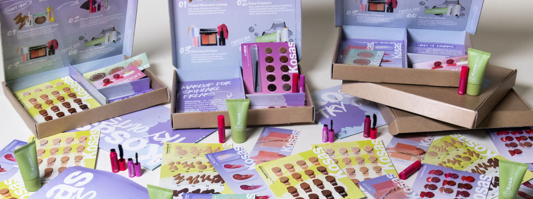 A Kosas Tryouts Kit showing different colorful samples you can try from home and swatch on your arms to find your shades