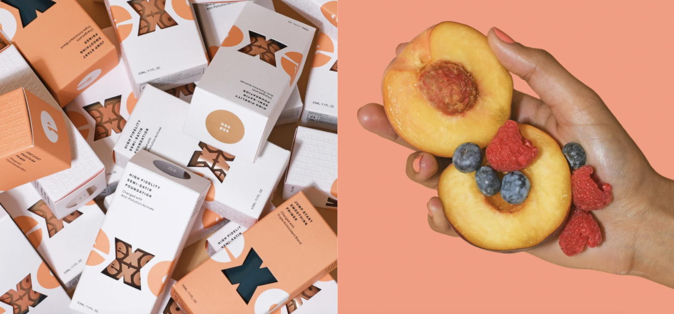 Side by side images of foundation boxes and delicious looking peaches/blueberries
