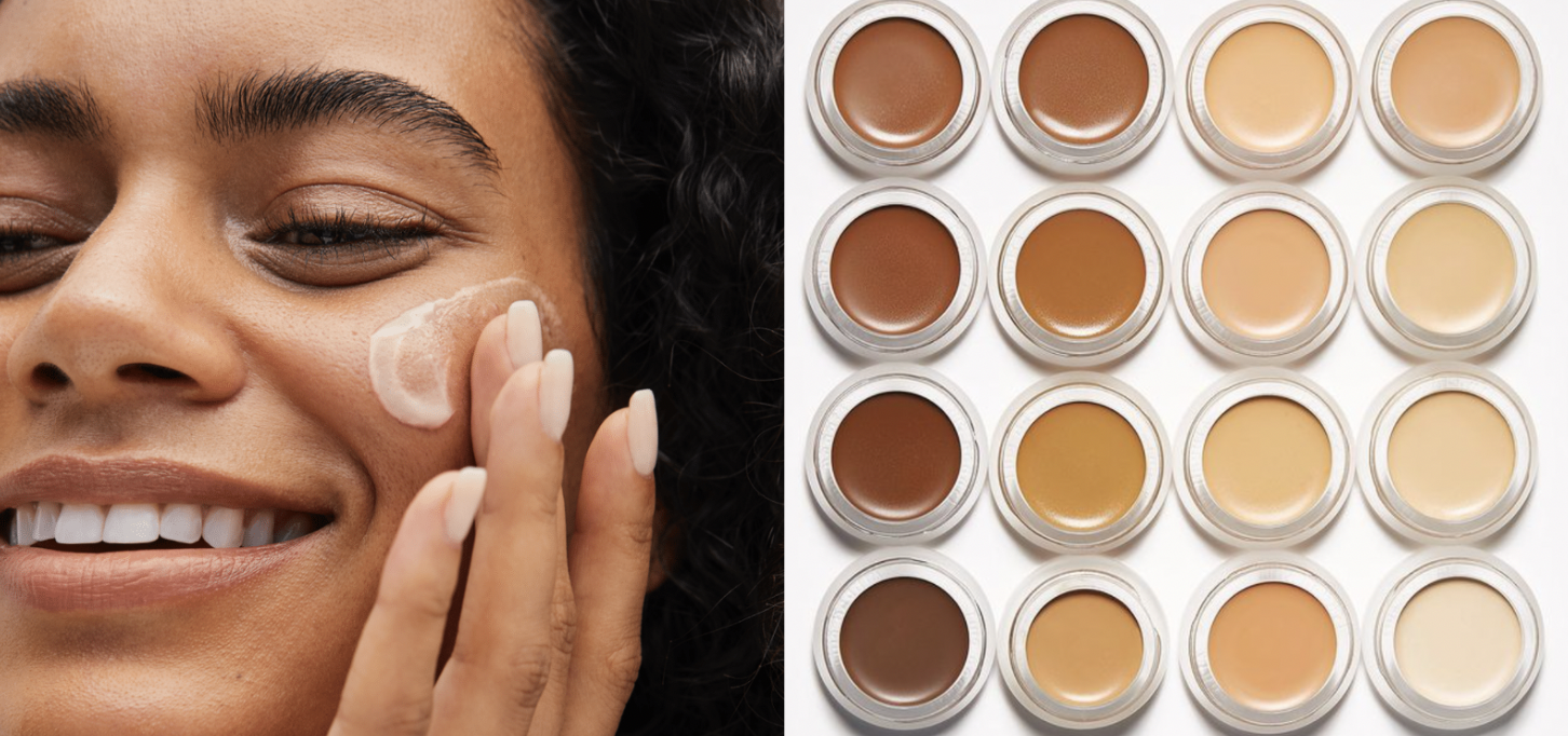 Side by side photos of a model rubbing cream on her face and an array of rms beauty concealer pots