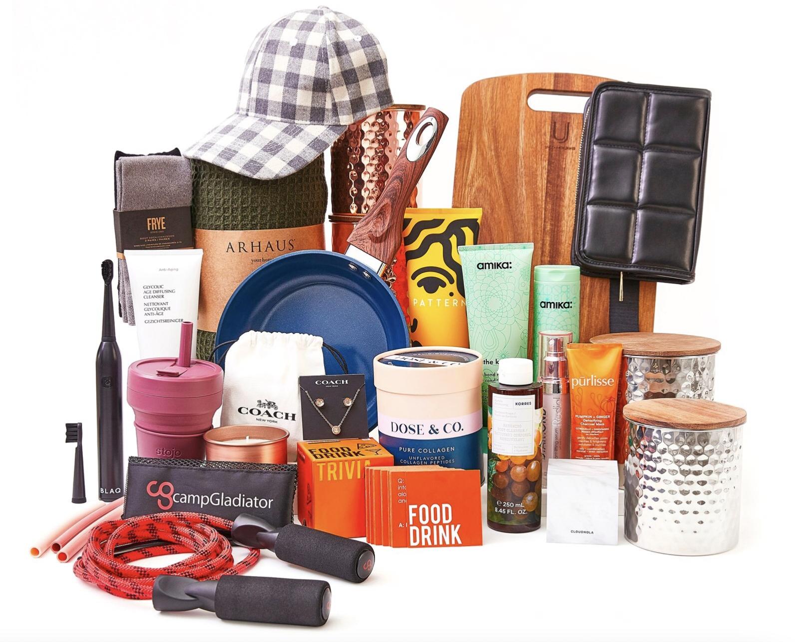 FabFitFun fall 2021 box showing a variety of beauty, wellness, fashion, fitness, home and tech items